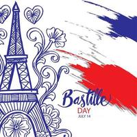 Happy Bastille Day Colorful Poster vector