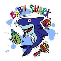 diseño de dibujos animados de tiburón bebé vector