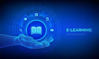 icono de e-learning en mano robótica vector