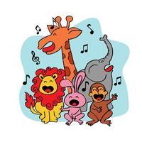 animais selvagens de bonito dos desenhos animados cantando vetor