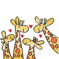 Cartoon Giraffe Family with Hearts