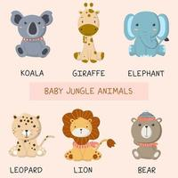Set of cute baby animals  vector
