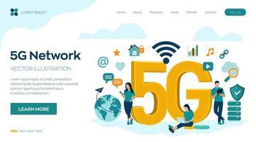 Tecnología móvil de red 5g internet vector