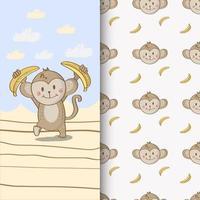 macaco com bananas vetor