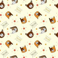 Hello Cat and bear pattern