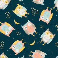 Owl with seamless pattern