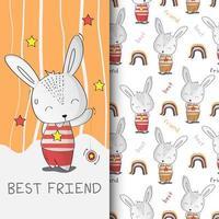 Cute Bunny hand drawn pattern