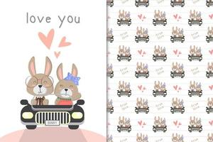 Bunny driving a car
