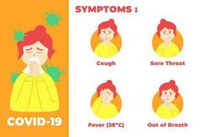 pasos de síntomas covid-19 vector