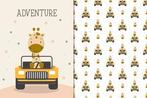 Adventure giraffe driving a car