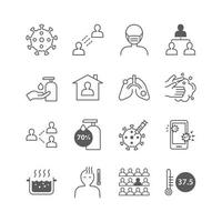 conjunto de iconos de coronavirus vector