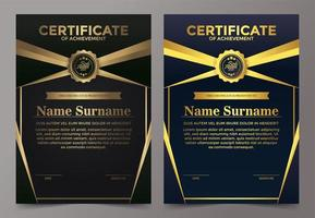 Black and gold certificate of achievement set