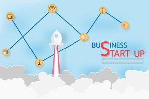 Business Start Up Concept with Rocket  vector