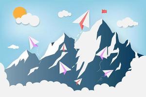 avion en papier survolant les montagnes vecteur