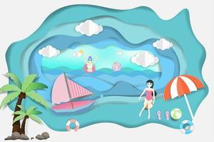 pessoas relaxando no oceano no design de verão