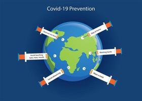Las jeringas protegen el coronavirus covid-19. vector