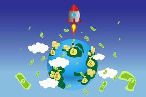 Rockets Launching from Earth with Money Floating