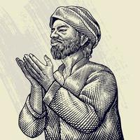 grabado dibujado a mano del anciano rezando vector