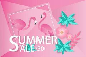 Summer Sale Design with Flamingos  vector