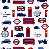 Seamless cartoon British pattern with flags vector