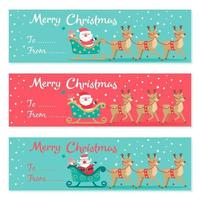 Set of Santa Claus Driving in a Sledge Banner