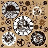 Set of clock faces and parts vector