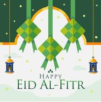 Happy Eid Al Fitr Background With Hanging Diamonds And Lanterns