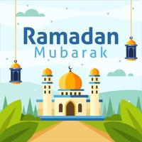 Ramadan Background with Flat Style Mosque