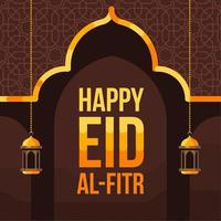Happy Eid Al Fitr Background With Mosque Silhouette