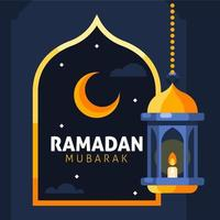 Ramadan Mubarak Background With Crescent And Hanging Lantern