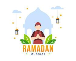 Ramadan Kareem Greeting Background With Muslim Young Boy Praying