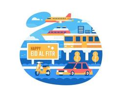 Happy Eid Al Fitr Background With Transportation Vehicles