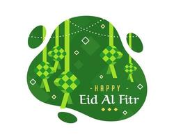 Happy Eid Al Fitr Background With  Diamond Design in Green