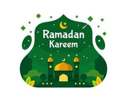 Ramadan Kareem Background With Mosque in Green Color