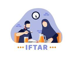 Iftar Background With Muslim Couple Eating Together At The Table  vector