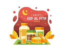 Happy Eid Al Fitr Background With Various Foods