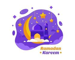 Ramadan Kareem Background With Crescent in Purple  and Gold vector