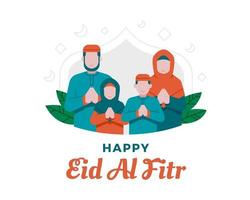 Happy Eid Al Fitr Background With Muslim Family Illustration