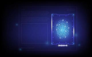 disegno viola di scansione dell'impronta digitale vettore