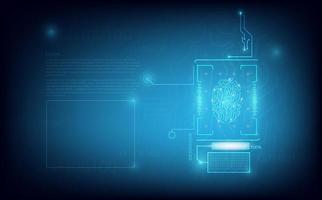 éléments de technologie de numérisation d'empreintes digitales vecteur