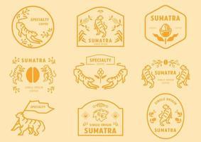 Sumatra coffee logo badge set with tiger vector