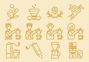 Coffee dripper icon set vector