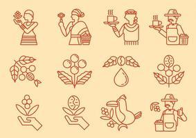 Local coffee farmer line icon set vector