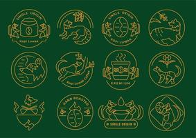 conjunto de emblema de café kopi luwak de origem única vetor