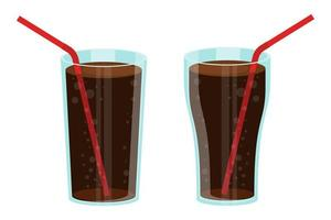 Glass of soda set vector