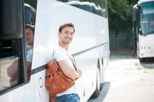 Attractive young guy is ready for his journey