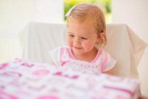 Happy Little Girl After Receiving Birthday Present