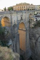 View of Ronda old stone bridge (other side), Malaga, Spain