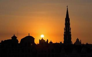 Brussels - Silhouette from Monts des Arts in evening. photo