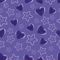 Purple Heart and Star Seamless Pattern  vector